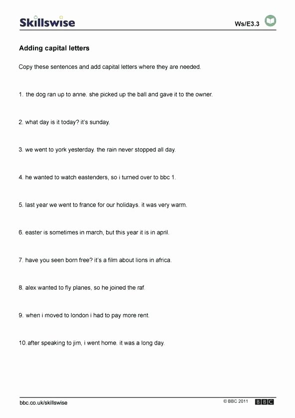 1st Grade Capitalization Worksheets Best Of Grammar Capitalization Worksheets Punctuation 1st Grade Year