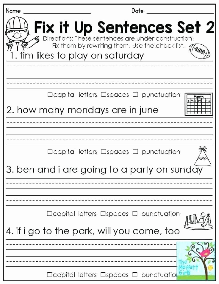 1st Grade Capitalization Worksheets Lovely Free Punctuation Worksheets