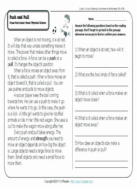 1st Grade Comprehension Worksheets Free 4th Grade Prehension Worksheets Printable