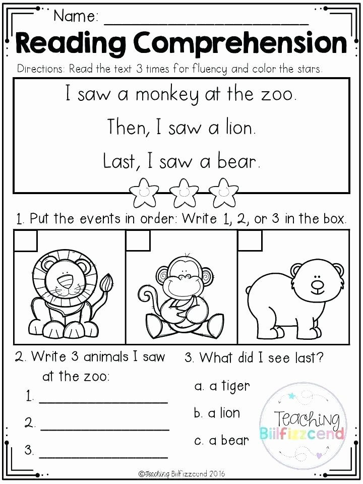 1st Grade Comprehension Worksheets Free Early Reading Prehension Worksheets