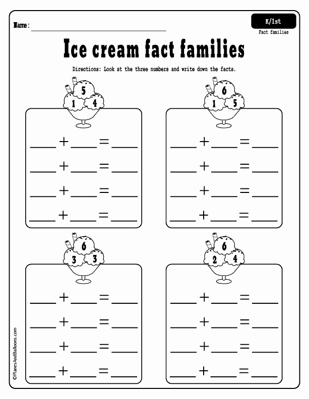 1st Grade Morning Work Worksheets Ice Cream Fact Families
