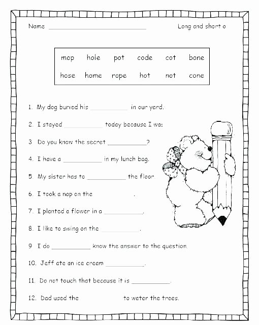 1st Grade Phonics Worksheets Pdf Long Vowel Worksheets Grade Free Printable Phonics Second