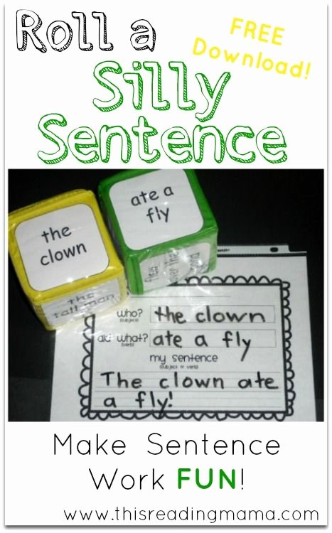 1st Grade Sentence Starters Lovely Roll A Silly Sentence Free Printable Included
