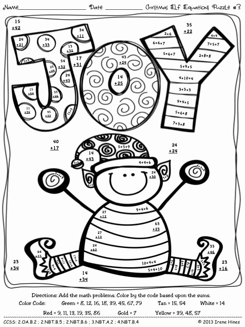 2 Digit Addition Coloring Worksheets Christmas Math Activities Christmas Elf Equations Color