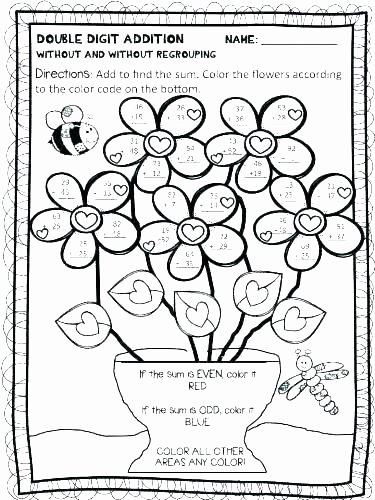 2 Digit Addition Coloring Worksheets Double Digit Addition Coloring Worksheets
