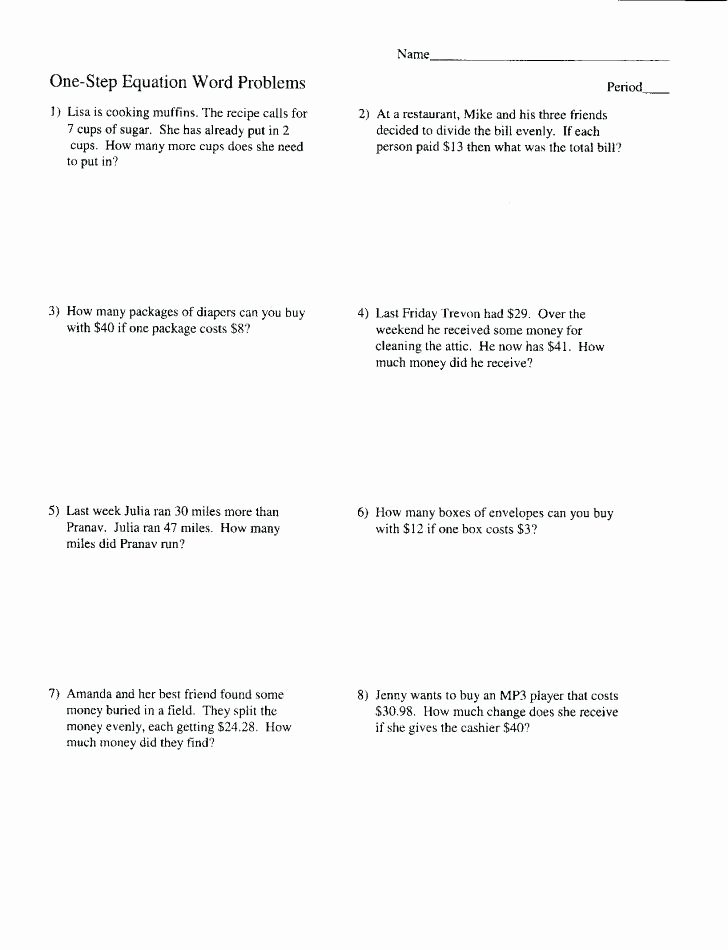 2 Step Word Problems Worksheets 2 Step Word Problems Worksheets – Trungcollection