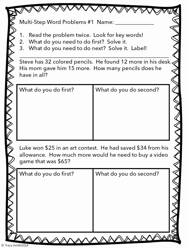 2 Step Word Problems Worksheets Two Step Math Word Problems Worksheets