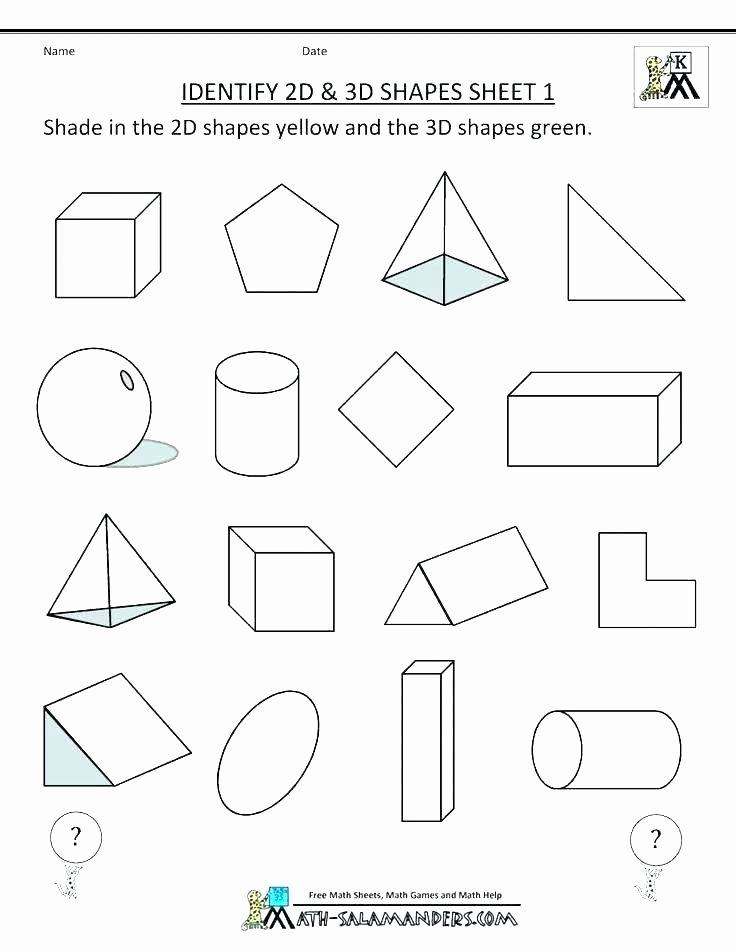 2d Shapes Worksheet Kindergarten 3d Shapes Printable Worksheets
