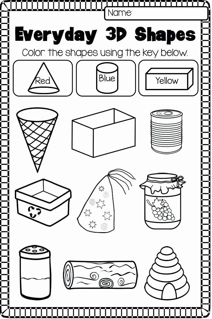 2d Shapes Worksheet Kindergarten area Worksheets 2d and 3d Shapes Worksheets 2nd Grade 3d