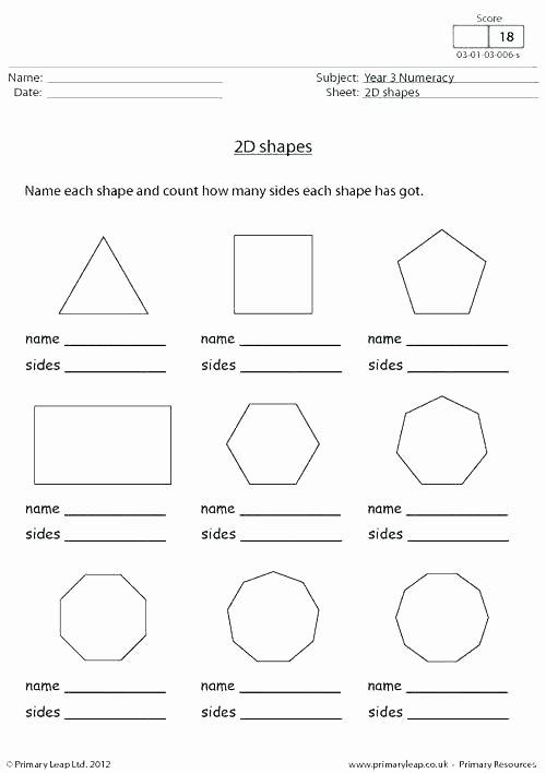 2d Shapes Worksheet Kindergarten Learning Shapes Sides and Corners Math Worksheets Land