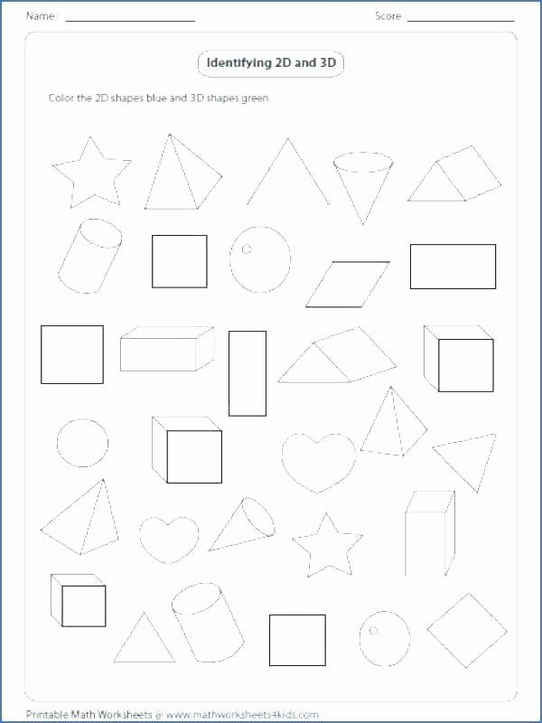 2d Shapes Worksheet Kindergarten Shapes Worksheets Grade 5 and for 2d 3d Pdf 1 Similar