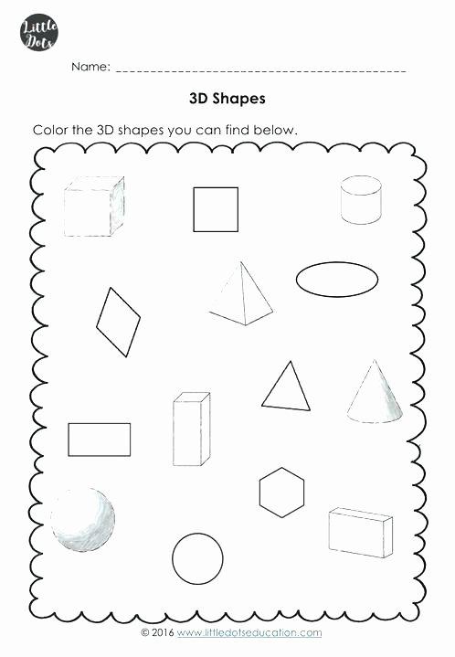2d Shapes Worksheet Kindergarten Shapes Worksheets Kindergarten Beautiful 2d and 3d 2nd Grade