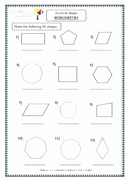 2d Shapes Worksheet Kindergarten Two and Three Dimensional Shapes Worksheets