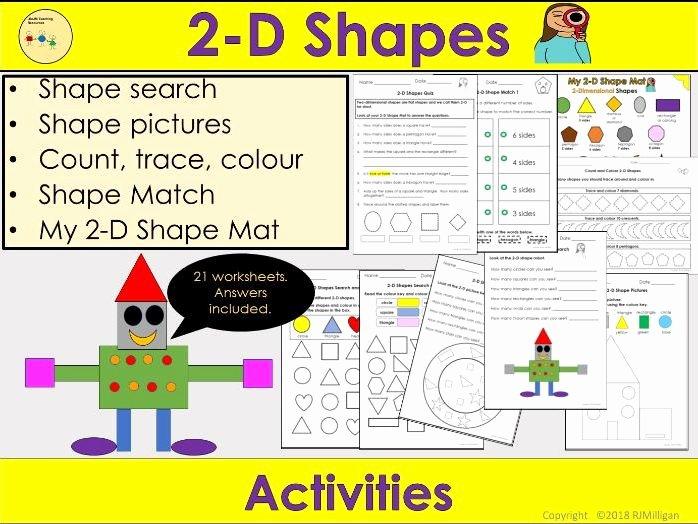 2d Shapes Worksheets Kindergarten 2d Shapes Worksheets Activities 2d Shape Mat Count Trace Colour Shape Reception Ks1