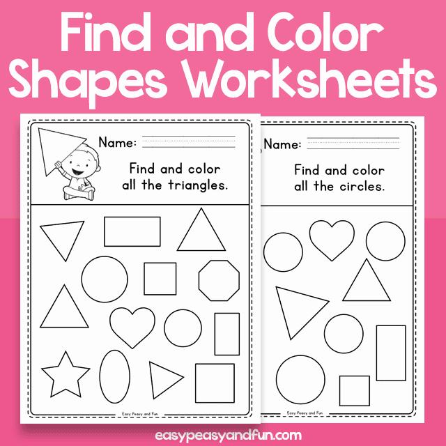 2d Shapes Worksheets Kindergarten Find and Color Shapes Worksheets – Easy Peasy and Fun Membership