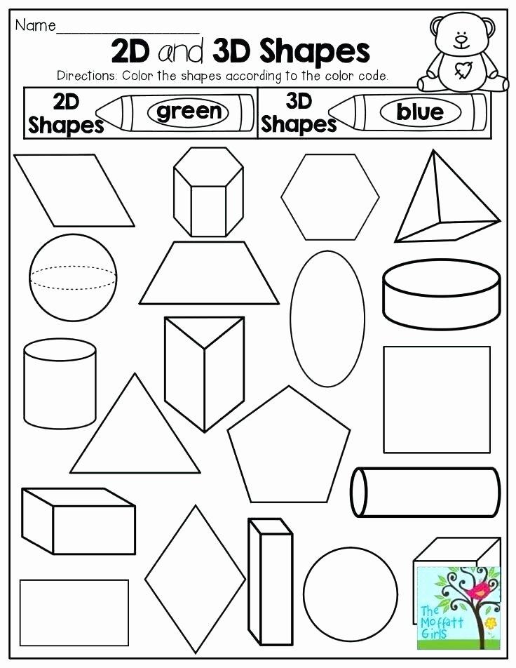 2d Shapes Worksheets Kindergarten Kindergarten 3 Dimensional Shapes Worksheets