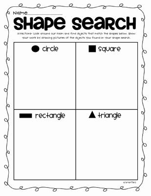 2d Shapes Worksheets Kindergarten Shape Search Math