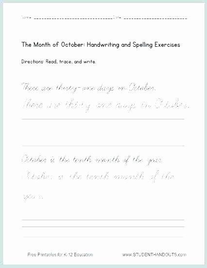 2nd Grade Handwriting Worksheets Pdf Free Handwriting Worksheets for First Grade Free Writing
