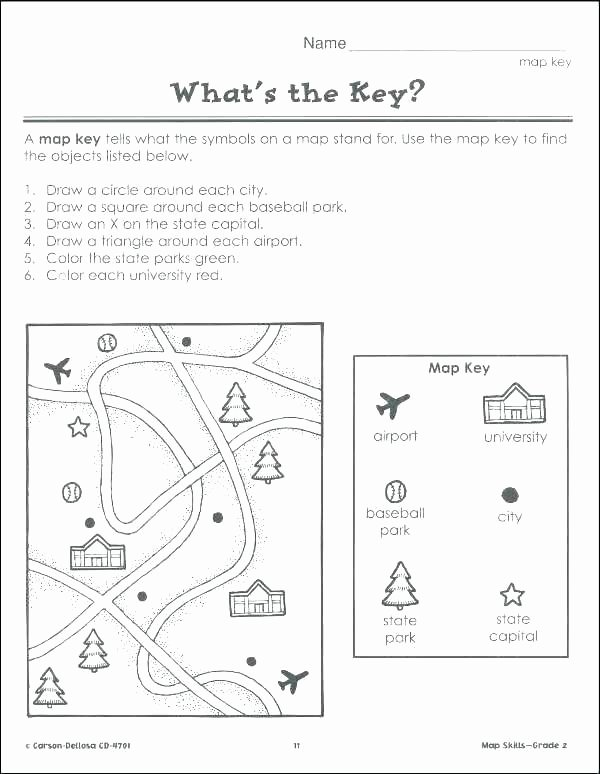 2nd Grade Map Skills Worksheets Unique Map Skills Worksheets Excel Free for Grade Year Reading