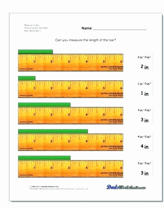 2nd Grade Measurement Worksheet Measuring Inches Worksheets Second Grade