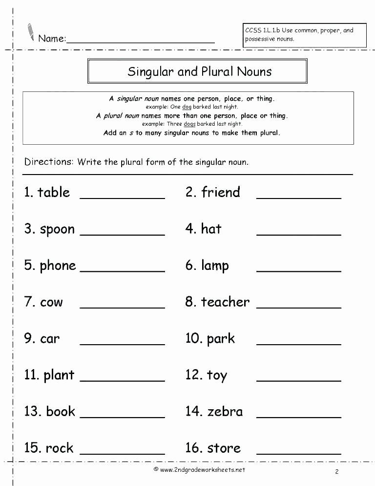 2nd Grade Noun Worksheets Free English Worksheets