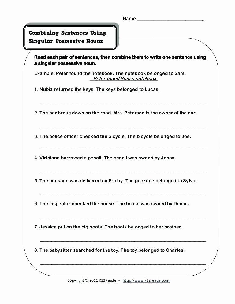 2nd Grade Noun Worksheets Singular Possessive Nouns Worksheets 4th Grade