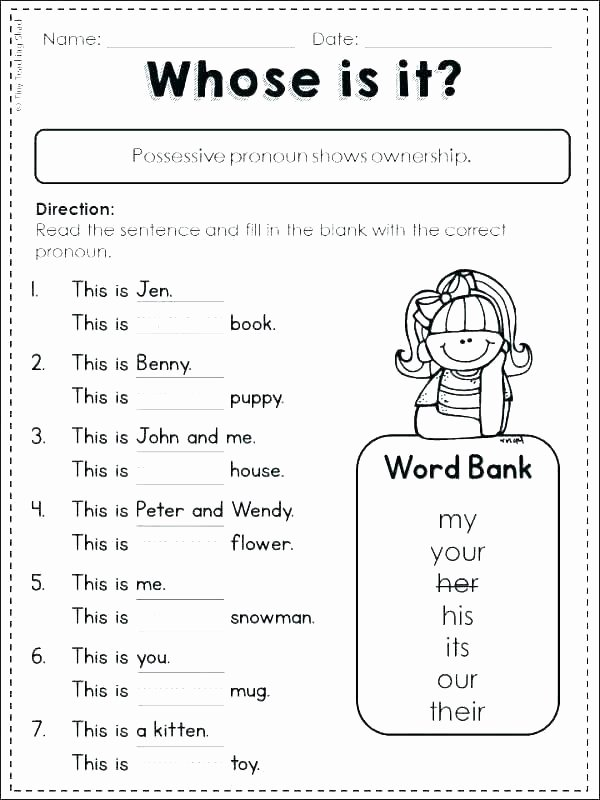 2nd Grade Pronoun Worksheets Personal and Possessive Pronouns Worksheets – Openlayers