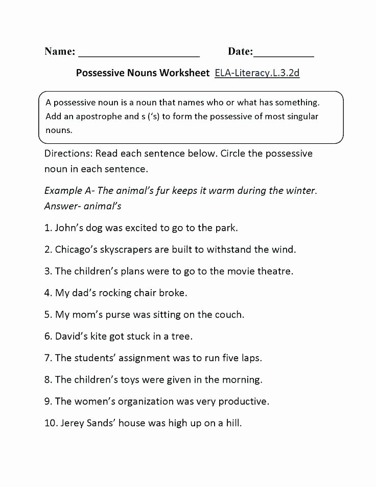 2nd Grade Pronoun Worksheets Possessive Noun Worksheet Possessive Pronouns Worksheet