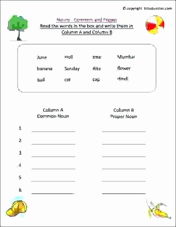 2nd Grade Proper Nouns Worksheet Grammar Worksheets