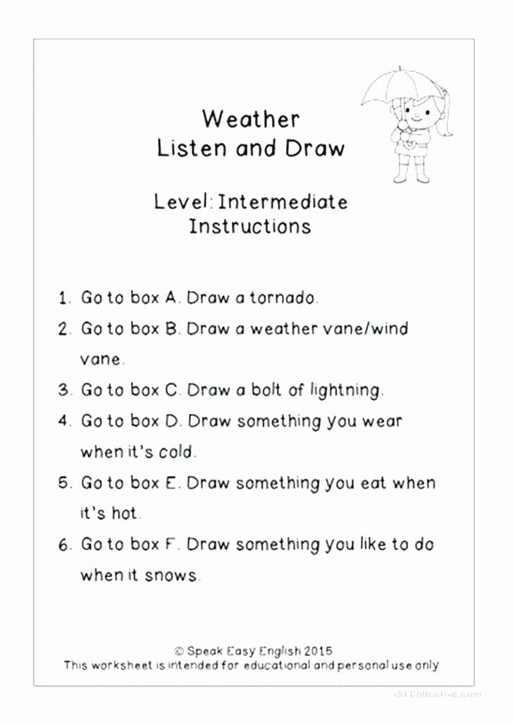 2nd Grade Weather Worksheets Esl Clothes Worksheets Listen Read Draw Weather Worksheet