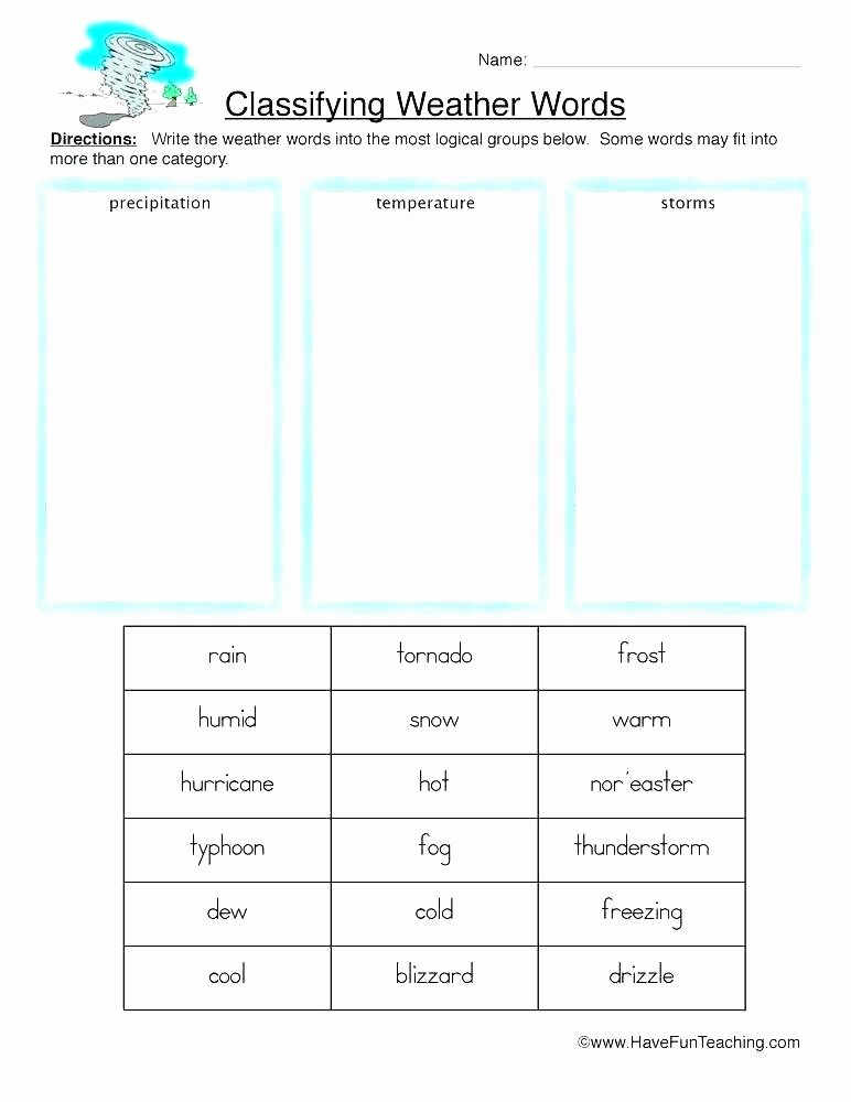 2nd Grade Weather Worksheets Weather Worksheets for Grade 2 Resources Science Weather