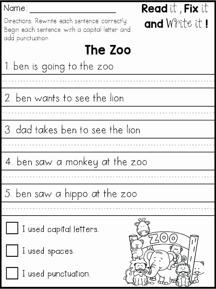 2nd Grade Writing Worksheets Pdf 1st Grade Language Arts Worksheets