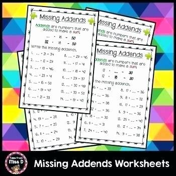 3 Addends Worksheets Missing Addends Worksheets Grade 1 Missing Addend Worksheets