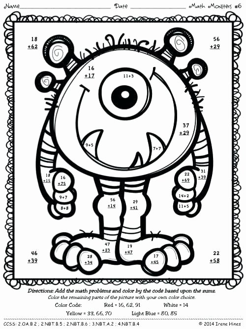 3 Digit Addition Coloring Worksheets Addition with Regrouping Worksheets Free