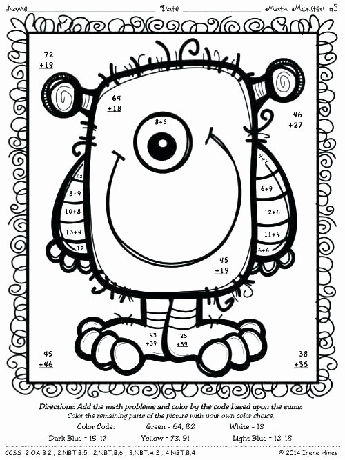 3 Digit Addition Coloring Worksheets Double Digit Addition Coloring Worksheets