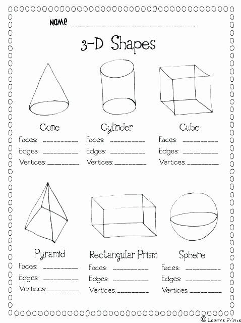 3 Dimensional Figures Worksheets Geometric Shapes Worksheets