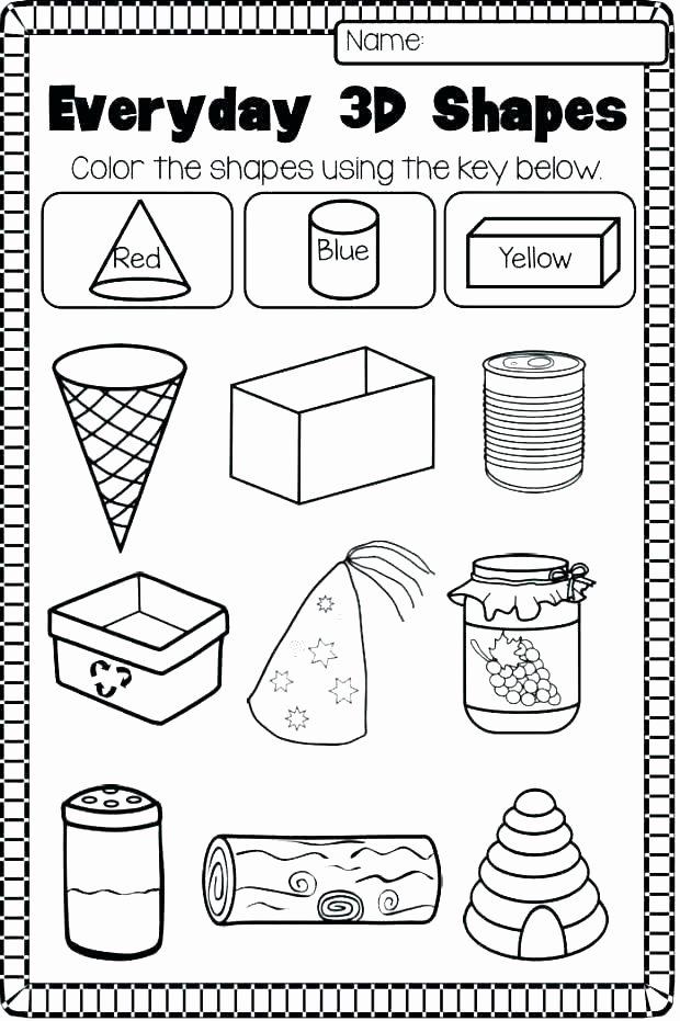 3 Dimensional Figures Worksheets Shapes Worksheets for Kindergarten Two Dimensional Shapes