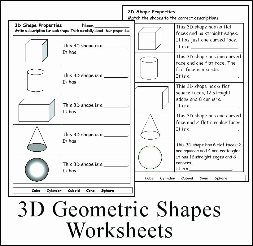 3 Dimensional Shapes Worksheets Identifying Shapes Worksheets Grade About This Worksheet 2d
