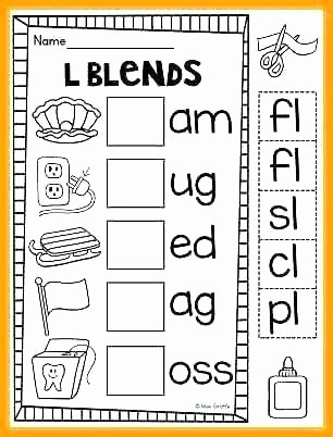 3 Letter Blends Worksheets L Blends Worksheets First Grade Initial Stock Vector