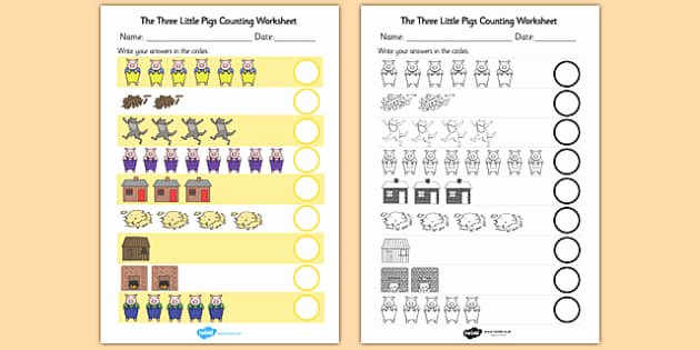 3 Little Pigs Worksheets the Three Little Pigs Activities Eyfs