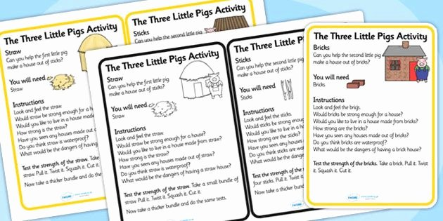 3 Little Pigs Worksheets the Three Little Pigs Materials Activity Cards