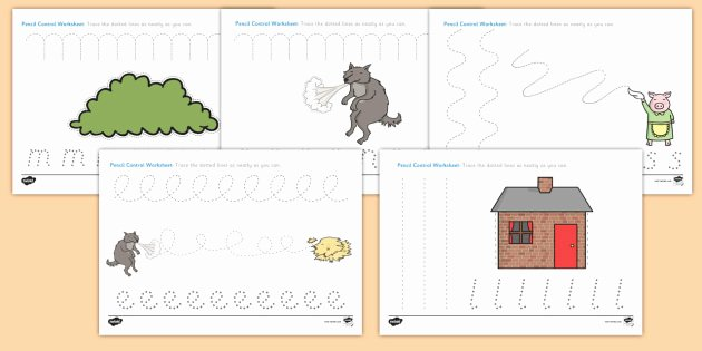 3 Little Pigs Worksheets the Three Little Pigs Pencil Control Sheets the Three