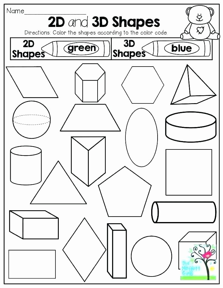 3d Shapes Worksheet for Kindergarten 2d Shapes Worksheets