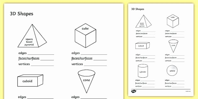 3d Shapes Worksheet for Kindergarten 3d Shapes Printable Worksheets