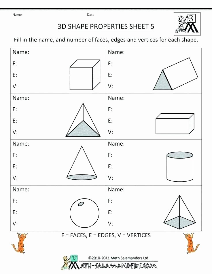 3d Shapes Worksheet for Kindergarten Grade Geometry Worksheets 3 D Shapes 2d and 3d 7 Free