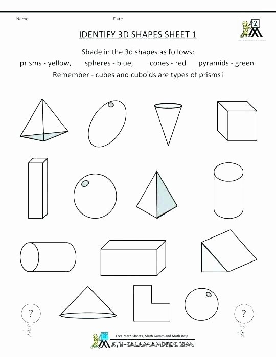 3d Shapes Worksheet for Kindergarten Name the Shape Year 2 Worksheet Save Resource Free Printable