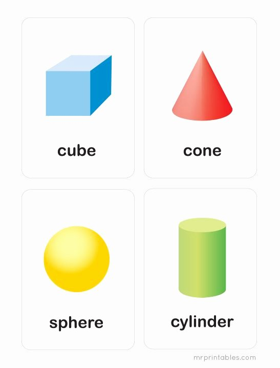 3d Shapes Worksheet for Kindergarten Printable 3d Shapes Flash Cards Mr Printables