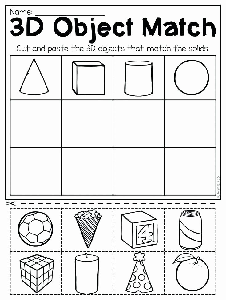 3d Shapes Worksheet for Kindergarten Shape Worksheet and Worksheets solid Shapes for 1st Grade