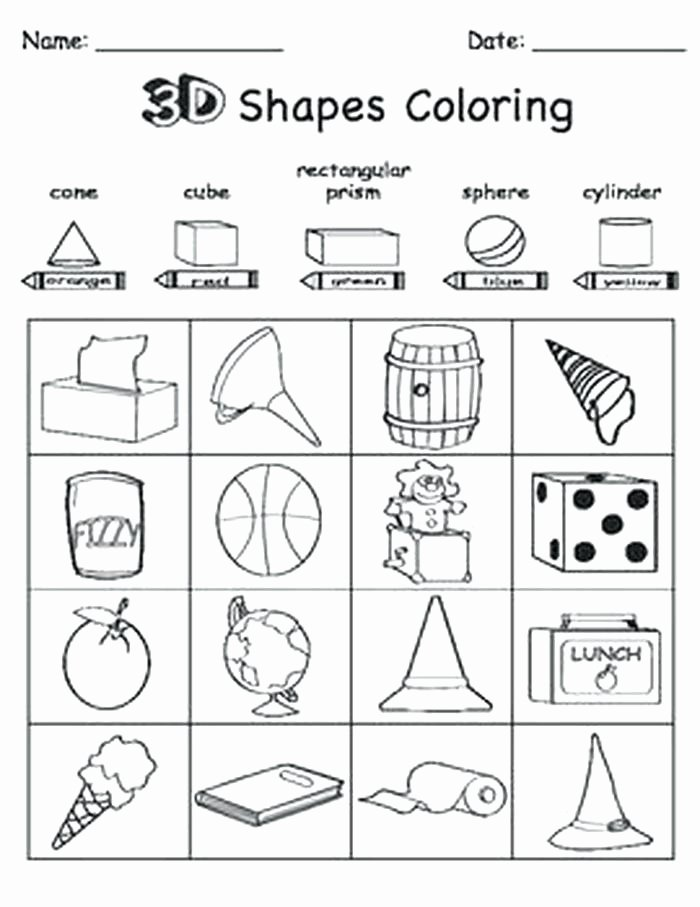 3d Shapes Worksheet for Kindergarten Shapes 3d Shapes Worksheets Kindergarten Free 3d Worksheets