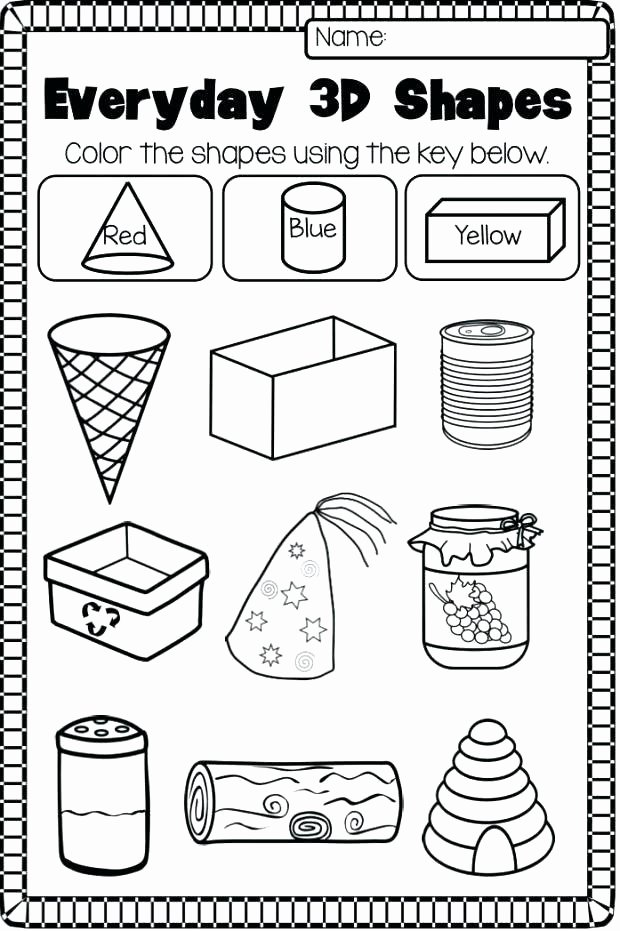 3d Shapes Worksheet for Kindergarten Shapes Worksheets for Grade 1